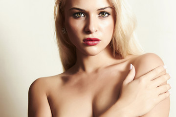 sexy beautiful blond woman with red lips