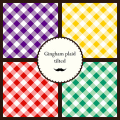 Set of tilted gingham plaid patterns