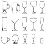 vector stemware icon's set