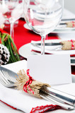 Red christmas dinner table setting