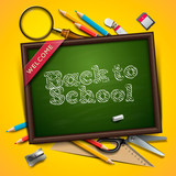 Fototapety Welcome back to school, vector Eps10 illustration.