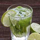 Cold mojito drink, glass of alcohol