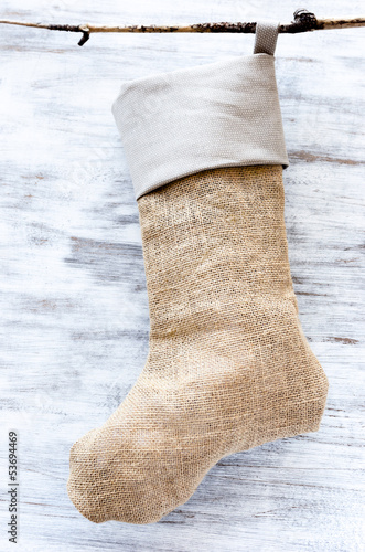 Handmade hessian burlap christmas stocking
