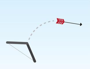 Red arrow shooting across the sky