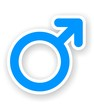 sticker of blue male sex symbol
