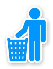 sticker of man with a trash symbol