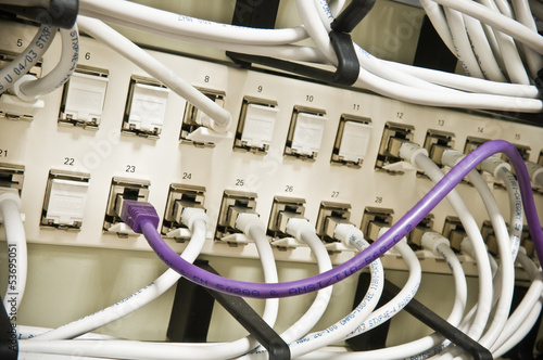 ethernet cables on a patch panel