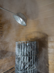 Steam and heat in a sauna