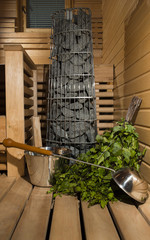 Finnish sauna stove and accessories