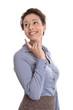 Frau lächelnd isoliert mit Blick abgewandt in Bluse und Rock