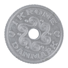 Danish 1 Krone coin isolated on a white background
