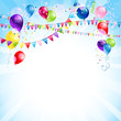 Blue holiday background with balloons