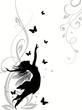 Fototapete Silhouette - Fliegender - Blume