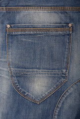 A back pocket is on jeans.