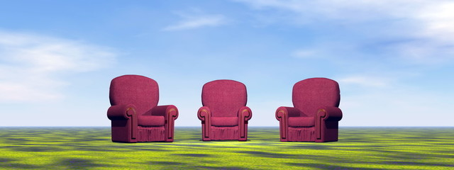 Chairs for meeting on a green meadow