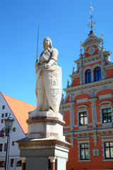 Statue near House of the Blackheads. Riga, Latvia