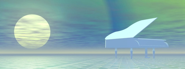 Piano by night - 3D render