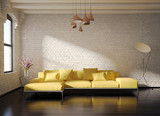 Contemporary stylish loft interior, brick walls, yellow sofa
