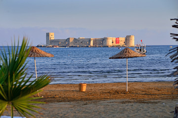 Historical castle on the sea in Mersin, Turkey
