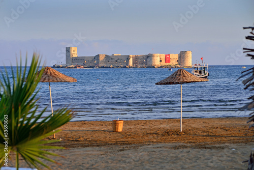 Historical castle on the sea in Mersin, Turkey