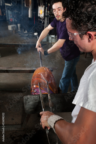 Glass Worker with Tongs