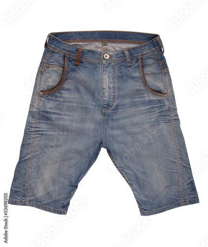 Denim shorts are on white background.