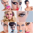 collage photo of Beautiful Woman with  Luxury Makeup