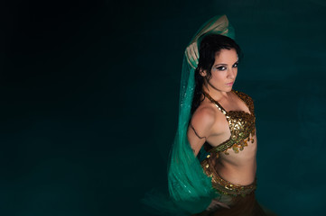 Exotic Belly Dancer in Gold Costume