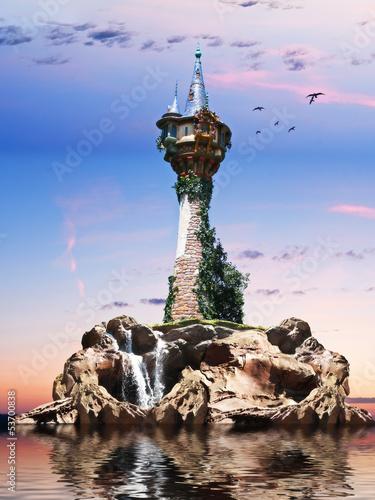 Zdjęcia na płótnie, fototapety, obrazy : Wizards tower, Fantasy tower sitting on a rock Island