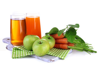 Glasses of juice, apples and carrots, isolated on white