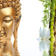 Bouddha doré, bambou et fleur blanche de lotus - 53701488