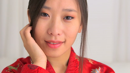 Closeup of Asian woman in traditional clothing