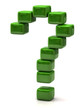 Question mark made of green cubes