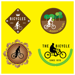 set of silhouette bicycle logo badge and banner vector format