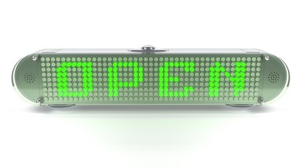OPEN - Digital Pin Sign with Emitting LED Light