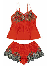 red peignoir and shorts