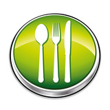 Green restaurant or nutrition concept icon button.