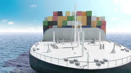 Cargo container ship in a sea