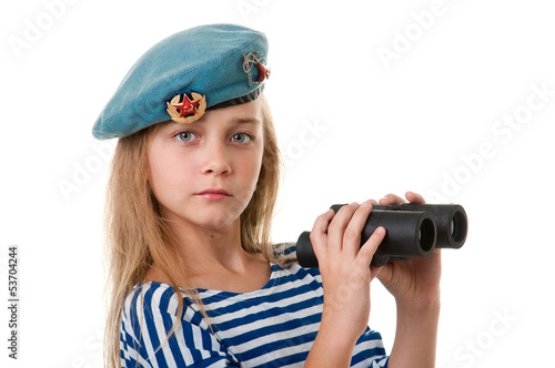 Portrait of the girl in the troop are taking, with binoculars in