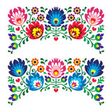 Polish floral folk embroidery patterns for card