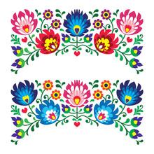 Polskie kwiatowe wzory haft ludowy dla karty