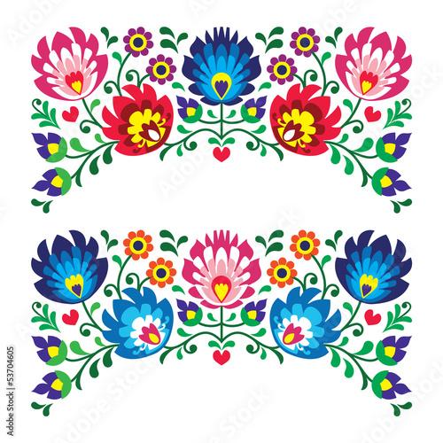 obraz PCV Polskie wzorce kwiatowy haft ludowy dla karty