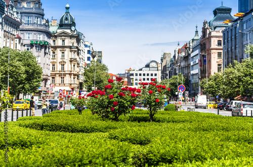 Staande foto Praag Wenzelsplatz Prag und Rosen