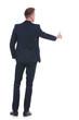 business man pushes fictive button