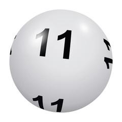 Loto, boule blanche numéro 11