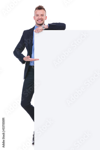 business man presents empty board