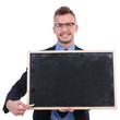 business man with chalk and blackboard