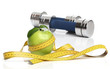 Healthy green apple and a measuring tape isolated