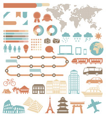 Tourism infographic set with colorful icons. Vector design