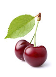 Fototapety Sweet ripe cherry with leaf